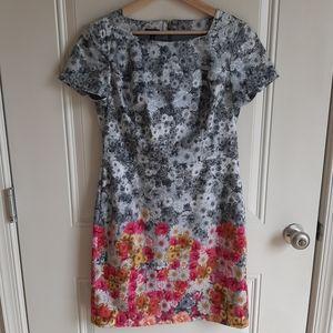 Talbots Petites Flower Block Sheath Dress Size 8P
